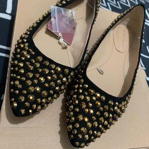 Zara Gold Studded Black Flats